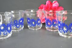 Set of 5 Tumblers with Blue and White Flowers , Retro Style Set of Tumblers Flower Power