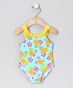 Take a look at this Blue & Yellow Pineapple One-Piece - Infant by Surf & Sand: Kids' Swimwear on today! Baby Buns, Baby Swimwear, That Look, Take That, Pineapple Print, Blue Yellow, Babys, Surf, Infant