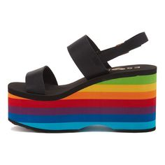 ESxRD Copa Rainbow Platform Sandal Shop the Styles ($85) ❤ liked on Polyvore featuring shoes, sandals, platform sandals, rocket dog, rocket dog shoes, platform shoes and rainbow footwear