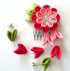 Pink Kanzashi Fabric Flower hair comb with falls.  Pink flower hair comb. Japanese hair piece. Geishas hair accessories. Oriental hari comb.