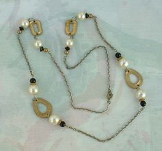 Long Retro Faux Pearl Openwork Necklace Square Chain Vintage Jewelry
