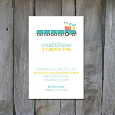 Modern Train Invitation by KreativeKits on Etsy, $10.00