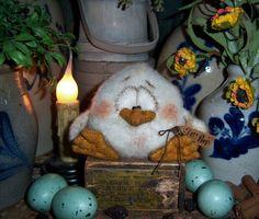Primitive Spring Easter Rooster Chicken Bird Doll Patti's Ratties Bear Artist