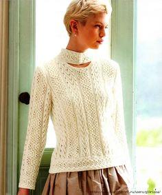 Белый пуловер рельефными узорами. Обсуждение на LiveInternet - Российский Сервис Онлайн-Дневников