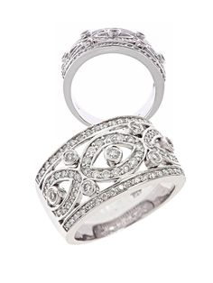 14k White Gold Diamond Vintage Wedding Anniversary Band Ring