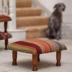This Ooty Stripe Wool Kilim Footstool is beautifully hand crafted and endlessly practical. Hard-wearing Kilim fabric set upon a solid mango wood frame