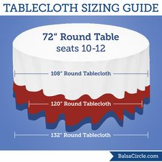 Simple chart for common tablecloth sizes Ever wonder what size