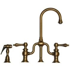 2-Handle Bar Faucet with Side Sprayer in Antique Brass