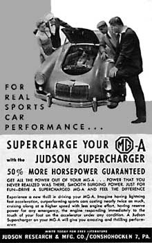 Retro Motor Car Ads - Supercharge your MGA with the Judson Supercharger.