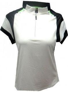 Jamie Sadock Kryptonite Women's Short Sleeve Mock Neck Colorblock Design Golf Polo -Zen Cream-RUNS 1 Size Small #ladiesgolfapparel #ladiesgolfclothing #womensgolf #golfladies #golfoutfits