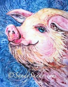 "Daily Paintworks - ""Pig ~ Symbol of Intelligence and Wealth"" - Original Fine Art for Sale - © Sandy Sandy"