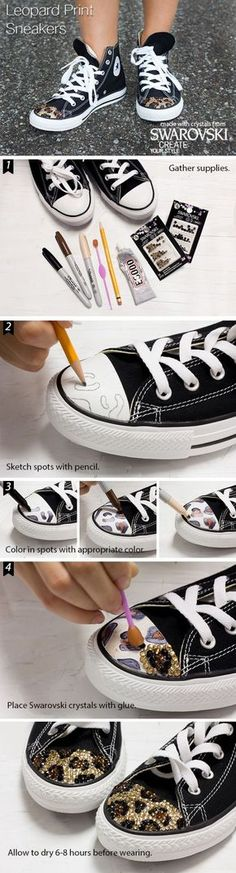 Add bling and wild-style to your sneakers easily with Swarovski Crystals - DIY Fashion - Bling Converse, Bling Shoes, Monogram Converse, Custom Converse, Custom Shoes, Diy Clothes And Shoes, Diy Clothing, Shoe Crafts, Diy And Crafts