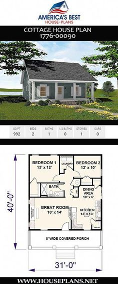"""Cottage House Plan Tiny house fans, Plan has everything you need to call it """"home sweet home."""" This 992 sq. Cottage house plan offers 2 bedrooms, 1 bathroom, and an open floor concept. To see more Cottage house plans visit www. Little House Plans, Small Cottage House Plans, Small Cottage Homes, Small House Floor Plans, Small Cottages, Little Houses, Small House Plans Under 1000 Sq Ft, Small Houses, Tiny Homes"""