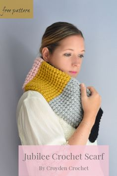 The Jubilee Crochet Scarf is a free pattern that features gorgeous texture that is created by the Berry Stitch. A easy pattern by Croyden Crochet #beginnercrochetscarf #easyscarfpattern Basic Crochet Stitches, Crochet Basics, Easy Crochet Patterns, Sewing Stitches, Hooded Scarf Pattern, Scarf Patterns, Crochet Scarves, Crochet Cowls, Crochet Leg Warmers