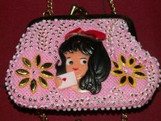 Vintage Mini Pink Coin Purse Girl N Love Letter Made by ggsdolls