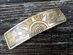 Brass Sun Metal Hair Barrette large hand etched by ArtisanKat
