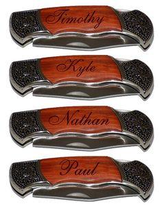 4 Personalized Groomsmen Gifts - Custom Engraved Wood Handle Pocket Knife Hunting Knives - Groomsman Best Man Ring Bearer Gift, $85.00