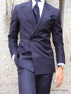 Double breasted pin-stripe navy suit with peaked lapels and ticket pocket. Der Gentleman, Gentleman Style, Mens Fashion Suits, Mens Suits, Suit Men, Types Of Suits, Dresscode, Pinstripe Suit, Herren Outfit