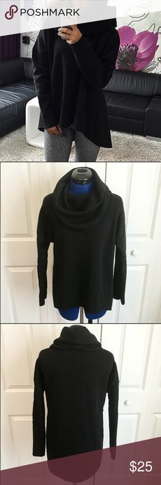 """Cowl Neck Sweatshirt Light, soft, sweatshirt material. Raw edge hems. Rolled neck. Longer in back than in the front. Perfect with jeans or leggings and boots! Cozy and stylish. Bust 48"""", waist 44"""", front hem length 26"""" and back hem length 32"""". No trades. Price is firm unless bundled. Tops Sweatshirts & Hoodies"""