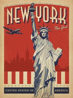 USA: New York City (WT) - Our latest series of classic travel poster art is called the World Travel Poster Collection. We were inspired by vintage travel prints from the Golden Age of Poster Design (a glorious period spanning the late-1800s to the mid-1900s.) So we set out to create a collection of brand new international prints with a bold and adventurous feel.<br />