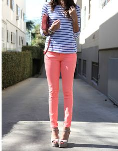 love the peachy skinnys & neutral wedge sandals along with the stripes..