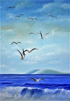 Marina Pintura al Óleo Rivage, Water Art, Art Deco, Watercolor, Bird, Beach, Painting, Scrapbooking, Hale Navy