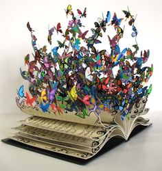 This is an amazing piece. Love it!! (Butterflies Bursting Out of Book - My Modern Metropolis)