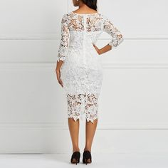 Evening Party Women White See Through Hollow Out Floral Lace Bodycon Dress Office Lady Spring Summer Work Basic Dresses White Dr Lace Dress With Sleeves, Floral Lace Dress, Floral Sleeve, Lace Skirt, Lace Dress Styles, Latest African Fashion Dresses, Classy Dress, Ladies Dress Design, Sexy Dresses