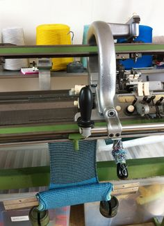 Work in progress on a Dubied knitting machine