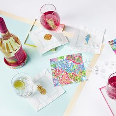 Lilly Pulitzer Cocktail Napkins, Wine Coaster, and Stemless Wine Glass Set