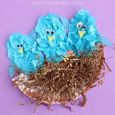 Make blue birds out of tissue paper in a nest! Cute spring craft for kids to make.