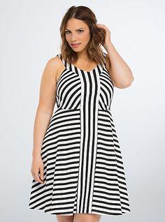 Striped Ponte Skater DressPlus Size Striped Ponte Skater Dress, MULTI STRIPE