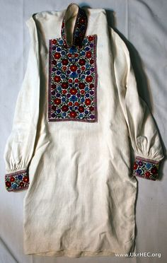 Embroidered man's shirt from the Boiko region of Ukraine. Early 20th century.