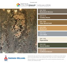 I found these colors with ColorSnap® Visualizer for iPhone by Sherwin-Williams: Superior Bronze (SW Rookwood Antique Gold (SW Spiced Cider (SW Weathered Shingle (SW Turkish Coffee (SW Protégé Bronze (SW Craft Paper (SW Jute Brown (SW Brown Paint Colors, Wall Paint Colors, Exterior Paint Colors, Color Paints, Stain Colors, Hallway Colours, Room Colors, Garden Painting, House Painting