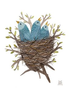 Fledglings No. 2 bluebirds original watercolor painting. $200.00, via Etsy.