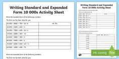 Writing Standard and Expanded Form 10 000s Activity Sheet-Australia - expanded form, simple form, expanded, place value, hundreds, tens, ones, units, ten thousands, numbe