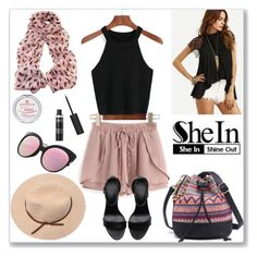 """""""Shein Waist Shorts"""" by ludmyla-stoyan ❤ liked on Polyvore featuring Pink, shorts, waist, wrap and shein"""