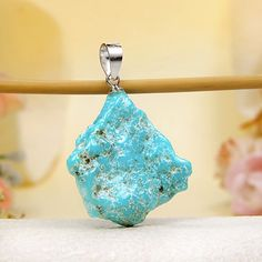 Naturally Formed Arizona Kingman Turquoise Handcrafted Pendant from JeGem.com