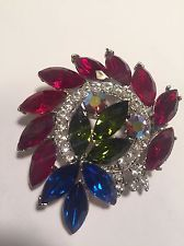 Vintage Signed Weiss Christmas Pin Brooch