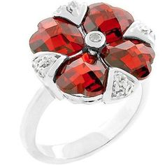 Silver Garnet Hearts Flower Cocktail Ring Ruby Red Cubic Zirconia Size 9 10 USA #Unbranded #Cocktail