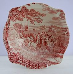 Vintage Johnson Brothers Stagecoach Red White Vegetable Serving Bowl Dish