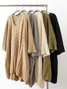 Plus Size Vintage Women Pure Color Hollow Loose Knitted Sweaters