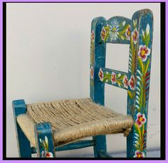 Hand Painted Child's Toy Chair Mexican Tourist Folk Art Extra Small  Dolls Teddy Bears.