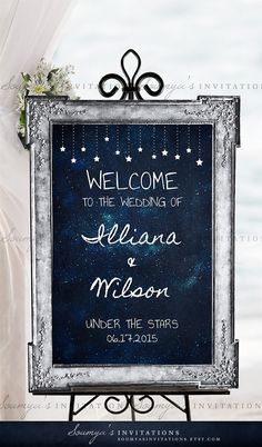 Wedding Welcome Sign Starry Night Welcome by soumyasinvitations