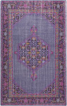 Distressed construction and tones of berry, gold and fuchsia highlight this hand-knotted Zahra design (Zahra ZHA-4001).