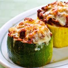 South Beach Diet Meat, Tomato, and Mozzarella Stuffed Zucchini Cups