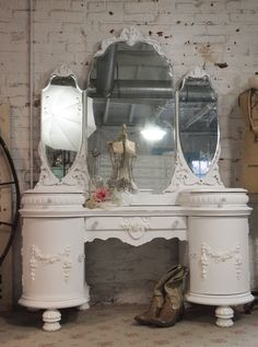 Painted Cottage Chic Shabby White Romantic Vanity [VAN38] - $595.00 : The Painted Cottage, Vintage Painted Furniture