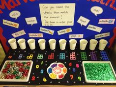 Interactive maths display - counting Maths Eyfs, Eyfs Classroom, Eyfs Activities, Group Activities, Kindergarten Activities, Preschool, Early Years Maths, Early Math, Early Learning