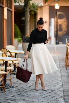 How to Be Parisian. - Fashionably Lo // Other than the fact that I clearly have a thing for turtlenecks + midi skirts, I think I am pretty obsessed with super feminine and classic looks this season. Whether it's pairing black and white or p Mode Outfits, Fashion Outfits, Womens Fashion, Fashion Tips, A Line Skirt Outfits, Midi Skirt Outfit, Overalls Outfit, Fashion Trends, Look Fashion