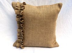 Items similar to Colored Burlap Pillow Cover Sizes from up to Rustic Pillow Cover Accent Pillow Cover with Ruffles Burlap Euro Shams on Etsy Rustic Pillows, Small Pillows, Burlap Pillows, King Pillows, Sofa Pillows, Brown Pillow Covers, Brown Pillows, Decorative Pillow Covers, Pillow Set